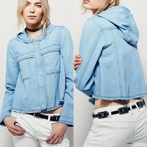 Free people denim hooded swing jacket
